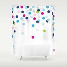 CUTE CONFETTI SPOTS - bright colorful - pink, aqua blue, mint, navy Shower Curtain