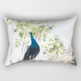 Fine Art Peacock Wildlife Animal Southern California Colored Print Rectangular Pillow