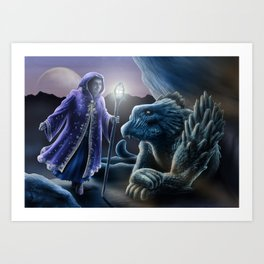 The sorceress and the dragon Art Print