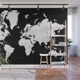 """Black and white highly detailed world map with cities, """"Mason"""" Wall Mural"""