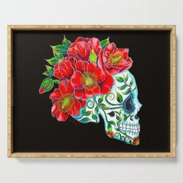 Sugar Skull with Red Poppies Serving Tray