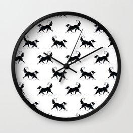 Casper in the snow / Border Collie  Wall Clock