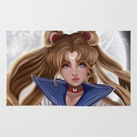 sailor moon Area & Throw Rugs featuring Sailor Moon by Niniel