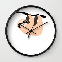 Cute Sloth Climbing Retro Cartoon Wall Clock