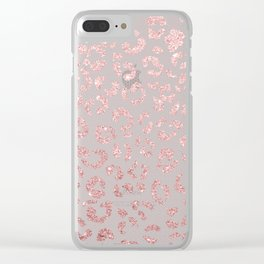 Faux pink glitter leopard pattern illustration on pink lace Clear iPhone Case