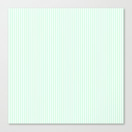 Summermint Green and White Pinstripe Pattern Canvas Print