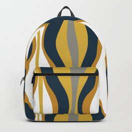 Hourglass Abstract Mid Century Modern Retro Pattern in Mustard Yellow, Navy Blue, Grey, and White Backpack