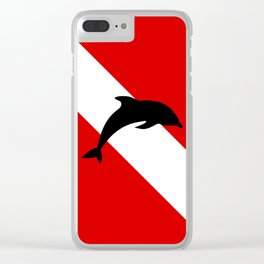 Diving Flag: Dolphin Clear iPhone Case