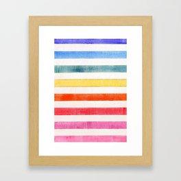 Rainbow stripes on canvas Framed Art Print