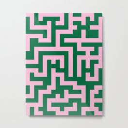 Cotton Candy Pink and Cadmium Green Labyrinth Metal Print