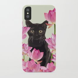 Lotos Flower Blossoms Black Cat iPhone Case