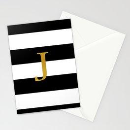 J Black White Stripes Stationery Cards