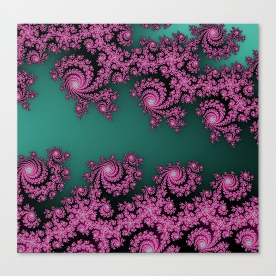 Fractal in Dark Pink and Green Canvas Print