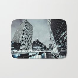 Cityscape River Night Photography Print Chicago Metropolis Bath Mat