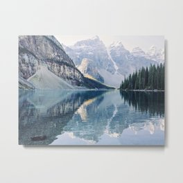 Sunrise Reflections - Moraine Lake, Banff Mountain Landscape Photography Metal Print