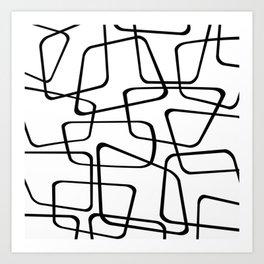 Mid Century Black And White Pattern Art Print