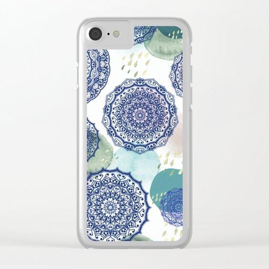 Fall Love Mandala in Blue Clear iPhone Case