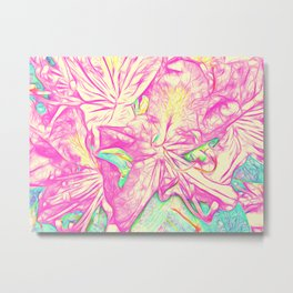 Rhododendron Raspberry & Cream Metal Print