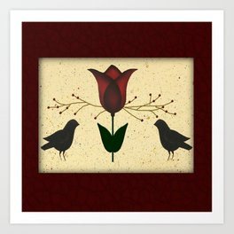 Primitive Tulip And Crows Art Print