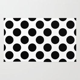 black round on a white background pattern Rug