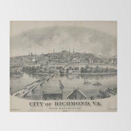 Vintage Pictorial Map of Richmond VA (1876) Throw Blanket