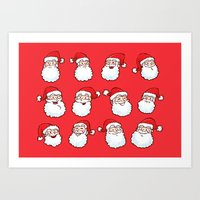12 Santas Art Print