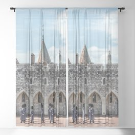 Changing of the Guard Windsor Castle England  Sheer Curtain