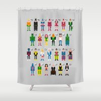 aquaman Shower Curtains featuring Pixel Superhero Alphabet 2 by PixelPower
