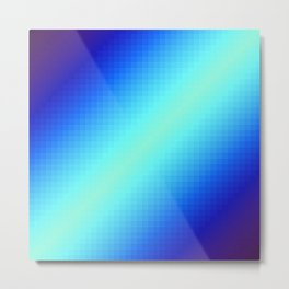 Blue Gradient Squares Metal Print
