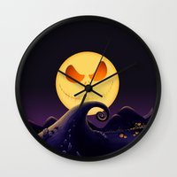 jack skellington Wall Clocks featuring Starry Night Jack Skellington by ThreeBoys