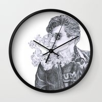 alex turner Wall Clocks featuring Alex Turner by Anja-Catharina