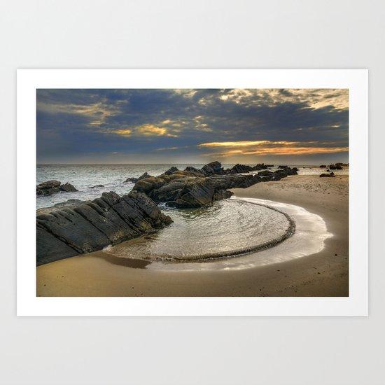 Windy Tarifa beach. Wild swiming pools. Art Print