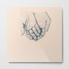 this is your hand, these are my hands, this is the world. Metal Print