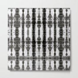 Black and White Tiki Shibori Metal Print
