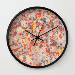 Orange Gray Ink Splatter Wall Clock
