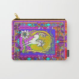Chromatic  Dancing Unicorn Floral Abstract Carry-All Pouch