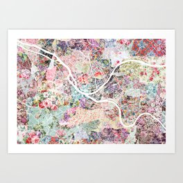 Pittsburgh map - Landscape Art Print