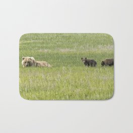Mother Brown Bear With Her Two Cubs, No. 2 Bath Mat