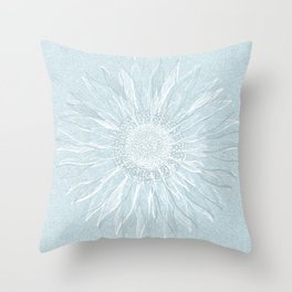 Festive, Winter, Mandala, Snowflake, Teal Blue Throw Pillow
