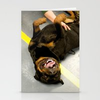 rottweiler Stationery Cards featuring Happy Rottweiler by Ann Yoo