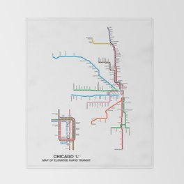 Chicago CTA Map, Chicago Wall Art, CTA Art Print Throw Blanket