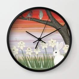 psychedelic spring scene Wall Clock