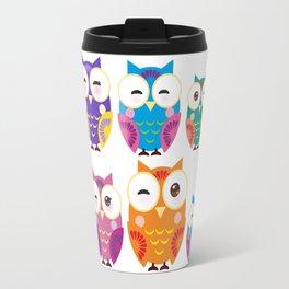 pattern - bright colorful owls on white background Travel Mug
