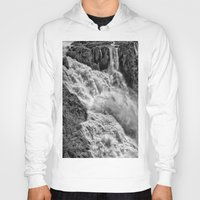 geology Hoodies featuring Black and White Beautiful Waterfall by Wendy Townrow