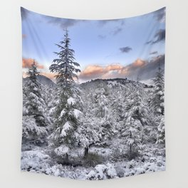 """Mountain light II"". Snowy forest at sunset Wall Tapestry"