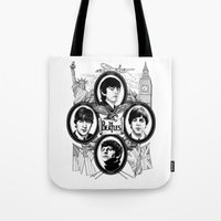 british flag Tote Bags featuring British Invasion by V-GRAFIX