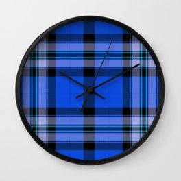 Argyle Fabric Plaid Pattern Blue and Black Wall Clock