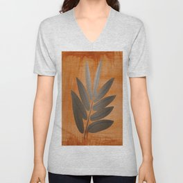 Minimalist, Metallic Plant, Rusty Background, Abstract, Floral, Tropical Art Unisex V-Neck