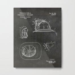 Firefighter Helmet Patent  Metal Print