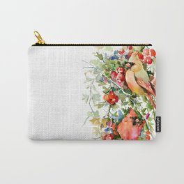 Cardinal Birds and Hawthorn, Cardinal Bird Christmas Design art floral bird decor Carry-All Pouch